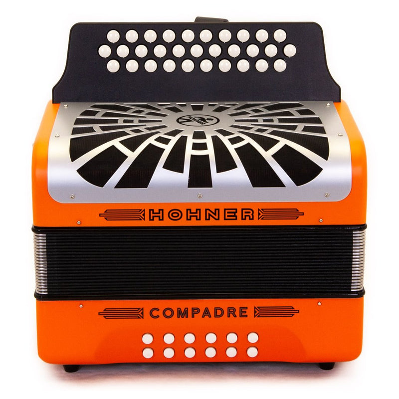 Hohner Compadre GCF Orange with Gray Grill and Cantabella Straps Bundle