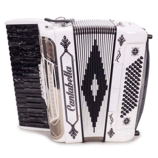 Cantabella Rey Chromatic Accordion 5 Switch White with Black