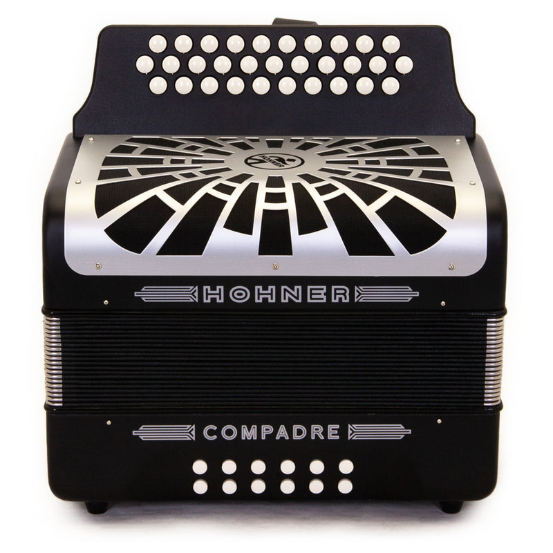 Hohner Compadre EAD Black with Gray Grill and Cantabella Straps Bundle