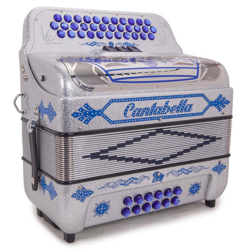Cantabella Rey II FBE - 3 Switches Silver Tinsel with Blue Designs Accordion
