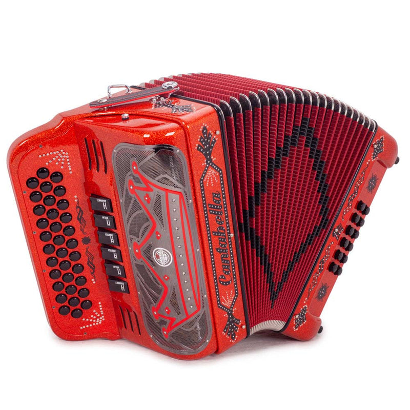 Cantabella Rey II Accordion FBE and EAD - 6 Switches Red Tinsel