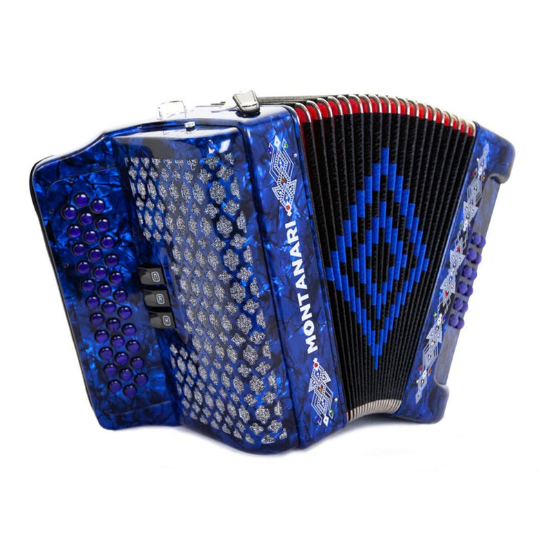 Montanari 3412 3S Accordion FBE Blue with Cantabella Straps and Microphone Bundle