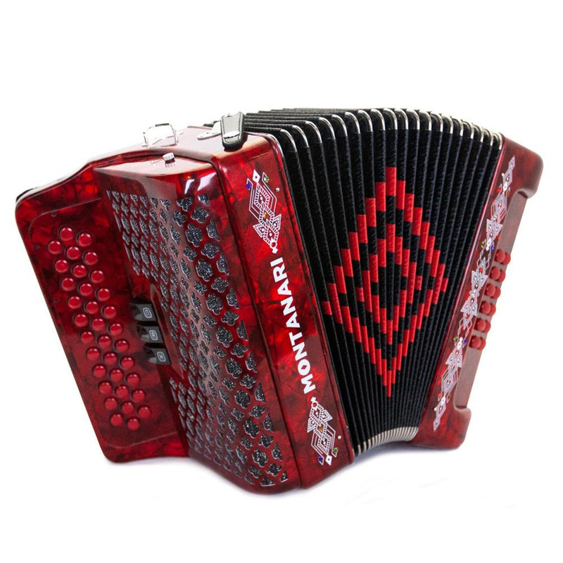 Montanari 3412 3S Accordion EAD Red with Cantabella Straps and Microphone Bundle
