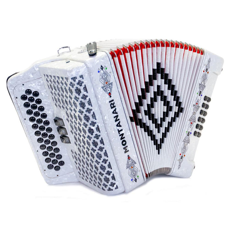 Montanari 3412 3S Accordion FBE White with Cantabella Straps and Microphone Bundle