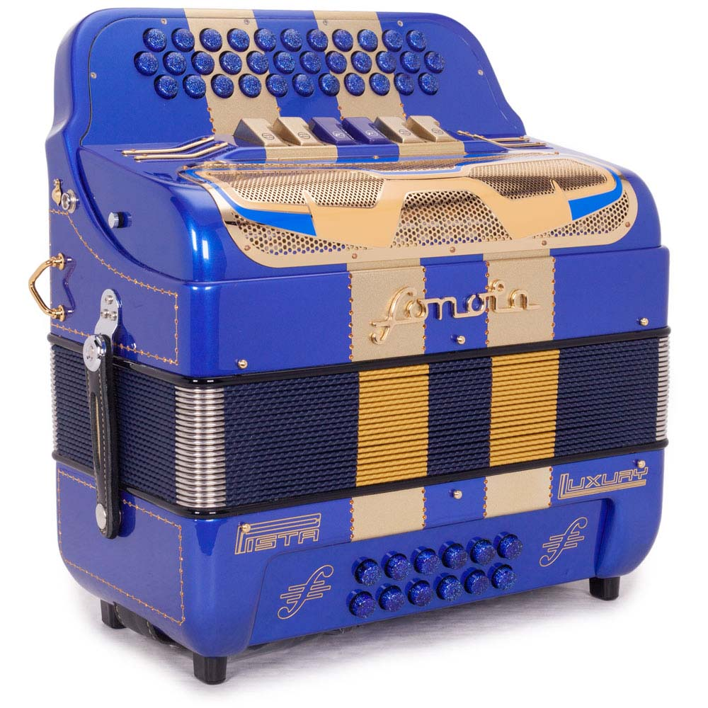Sonola Pista Lux Accordion 6 Switches FBE and EAD Blue and Gold