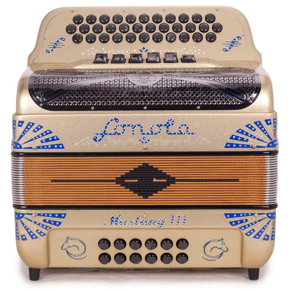 Sonola Mustang III Accordion FBE/GCF 6 Switches Gold with Blue Designs