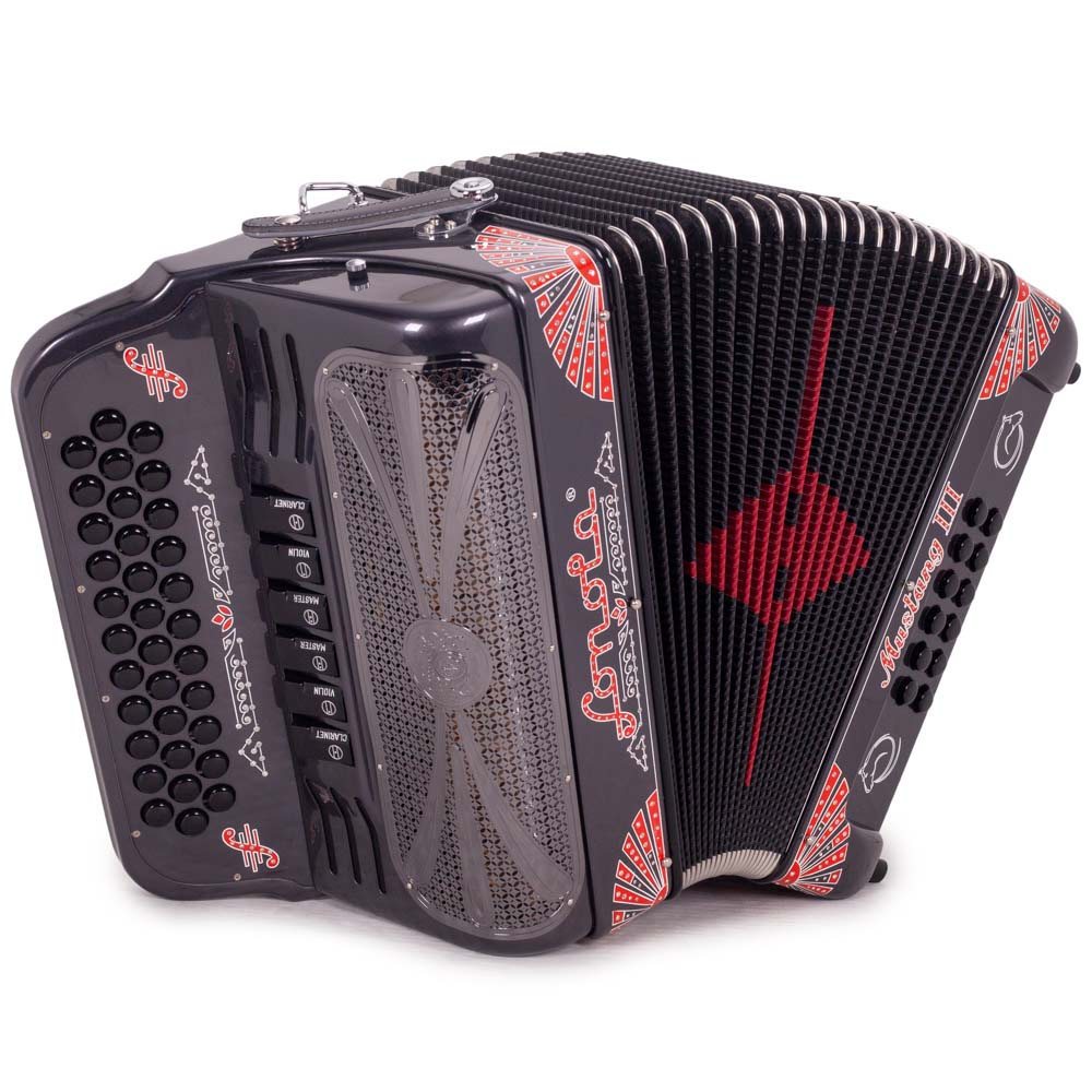 Sonola Mustang III Accordion FBE/GCF 6 Switches Gray with Red Designs