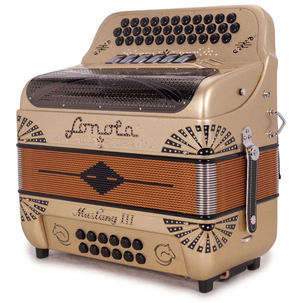 Sonola Mustang III Accordion FBE/EAD 6 Switches Gold with Black Designs