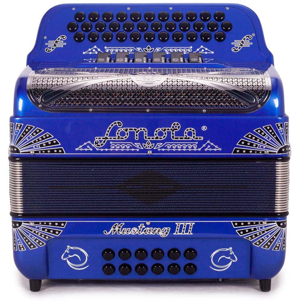 Sonola Mustang III Accordion FBE/GCF 6 Switches Blue with Black and White Designs