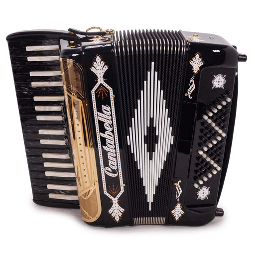 Cantabella Rey Chromatic Accordion 5 Switch Black and White with Gold Grill
