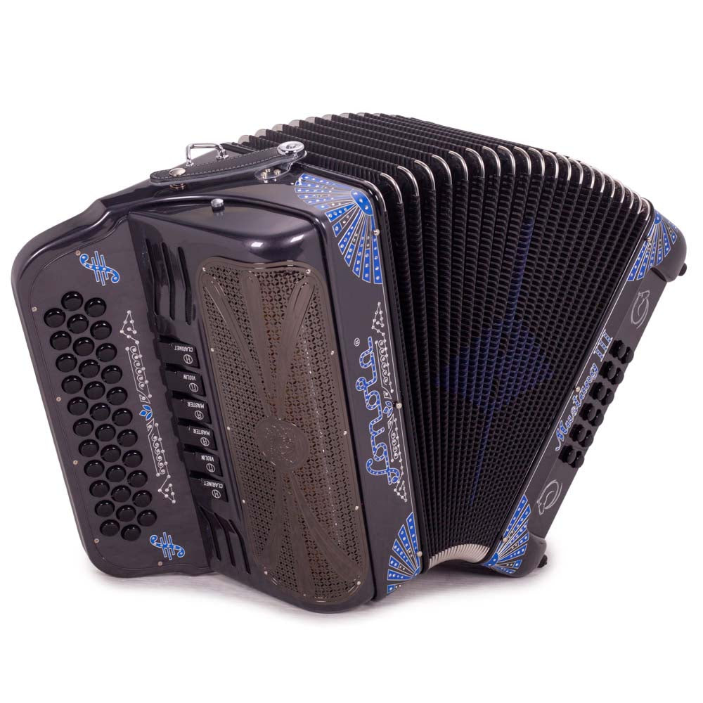 Sonola Mustang III Accordion FBE/EAD 6 Switches Gray with Blue Designs