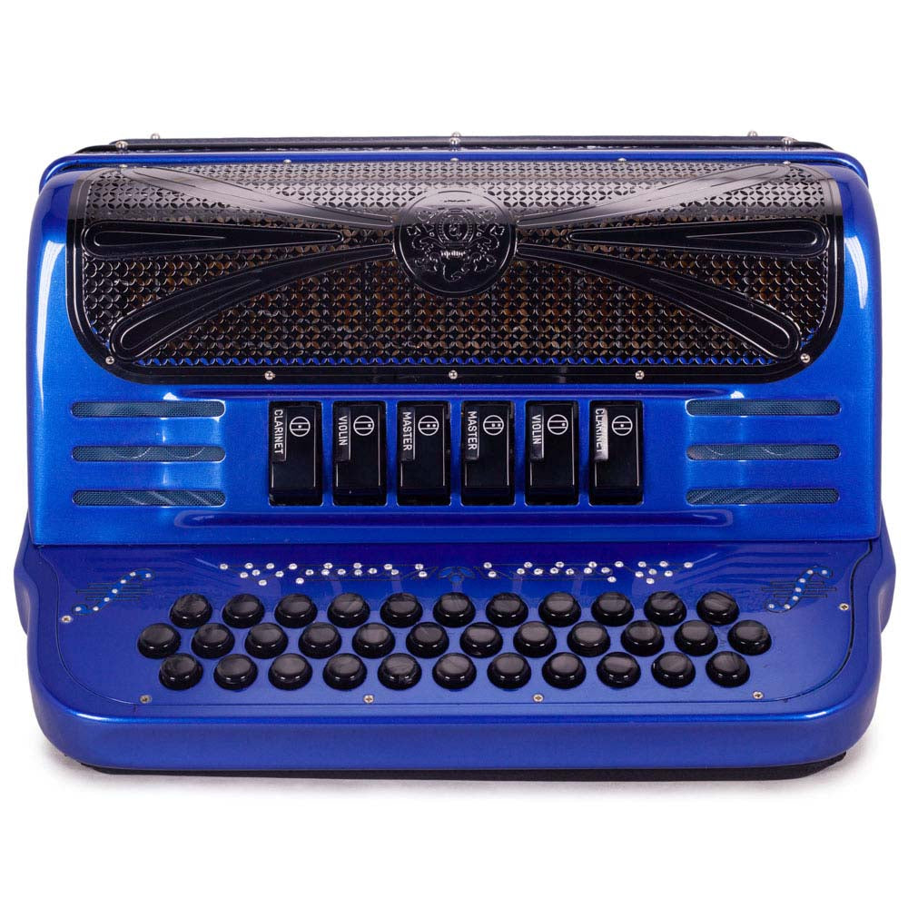 Sonola Mustang III Accordion FBE/EAD 6 Switches Blue with Black Designs