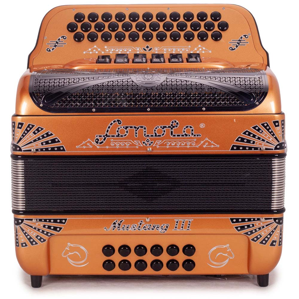 Sonola Mustang III Accordion FBE/EAD 6 Switches Copper with Black Designs