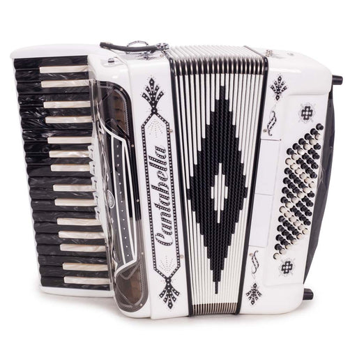 Cantabella Rey Chromatic Accordion 5 Switch White with Black and White Keys