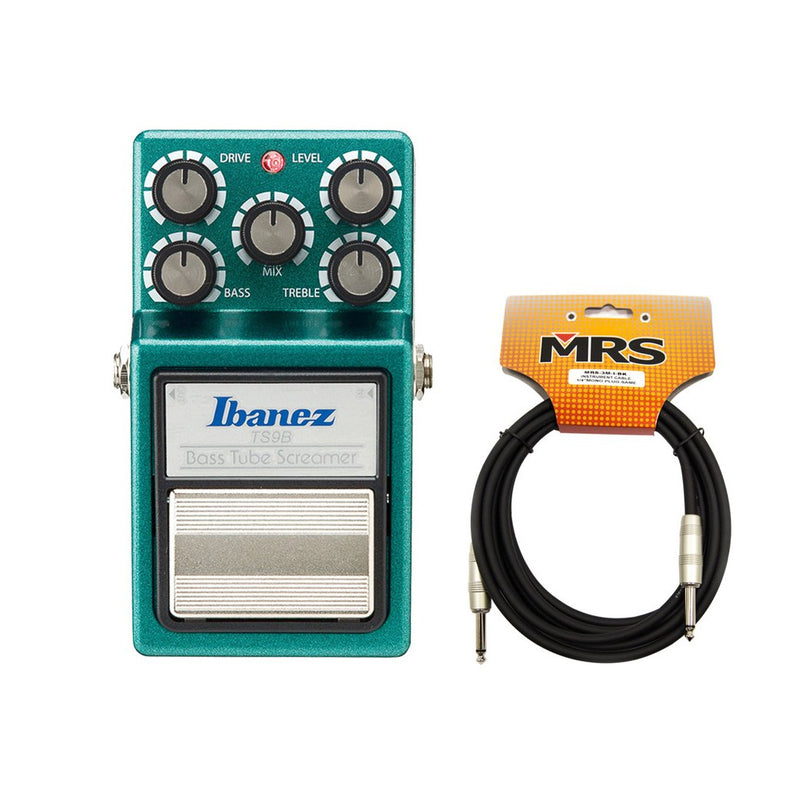 Ibanez TS9B Bass Tube Screamer with Guitar Cable Bundle