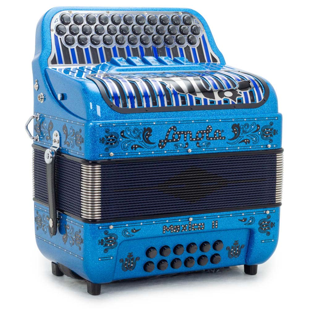 Sonola Mexico II Accordion 5 Switches EAD Blue Tinsel with Black Designs