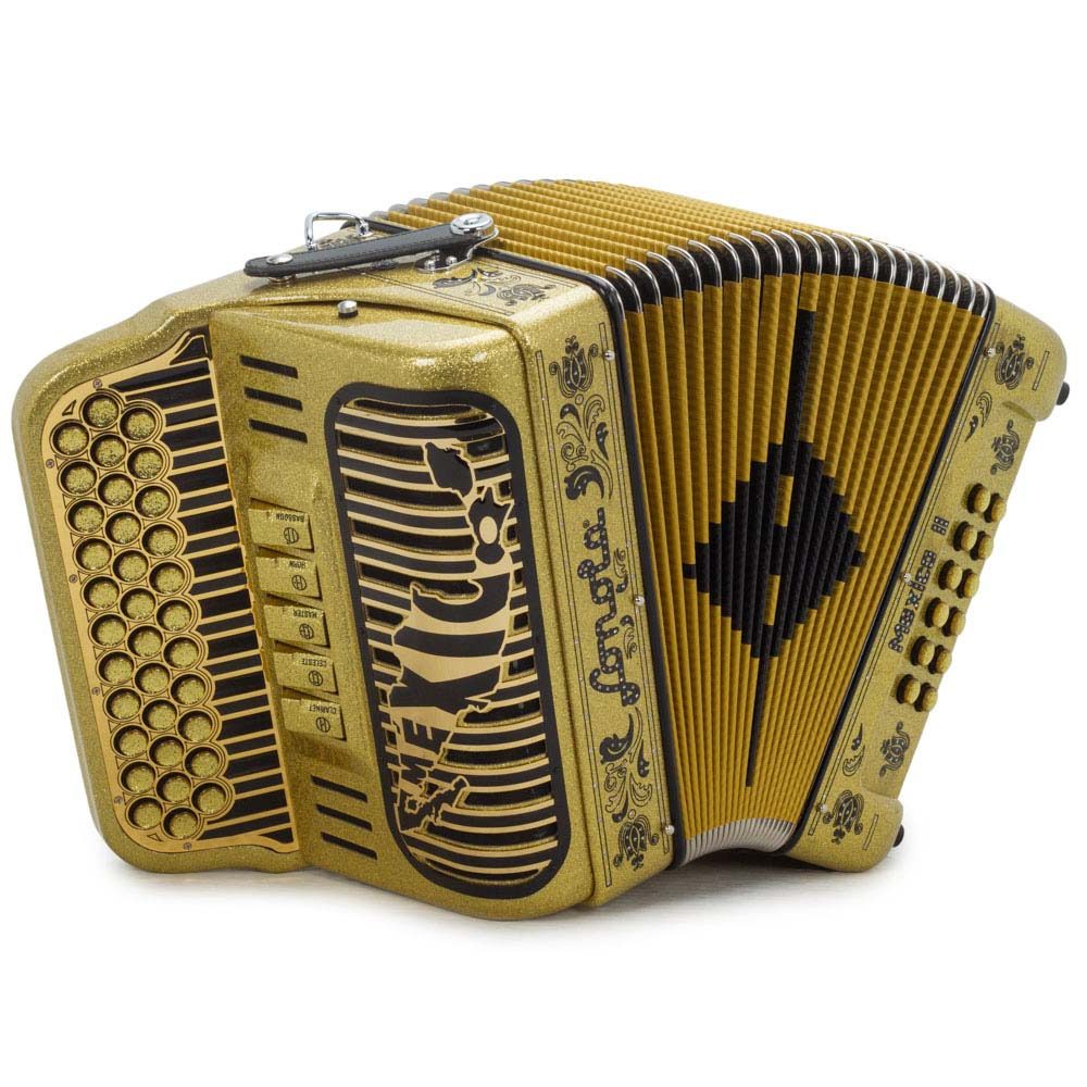 Sonola Mexico II Accordion 5 Switches FBE Gold Tinsel with Black Designs