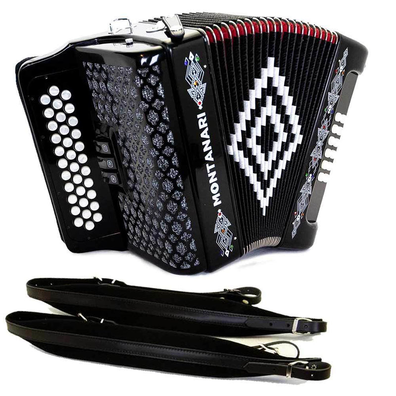 Montanari 3412 3S Accordion GCF Black Bundle with Cantabella Straps