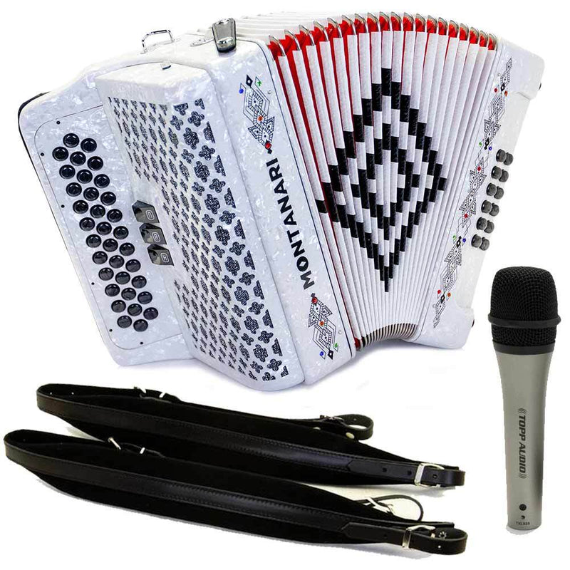 Montanari 3412 3S Accordion EAD White with Cantabella Straps and Microphone Bundle