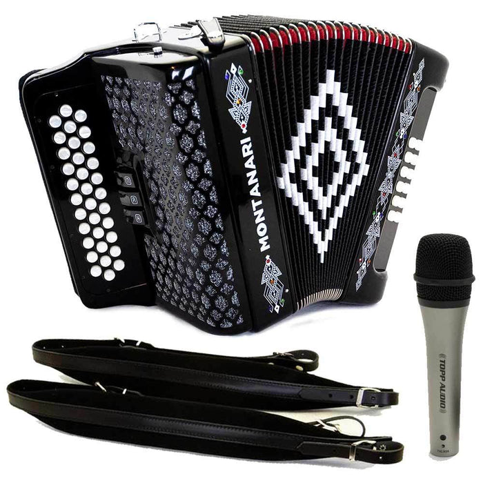 Montanari 3412 3S Accordion FBE Black with Cantabella Straps and Microphone Bundle