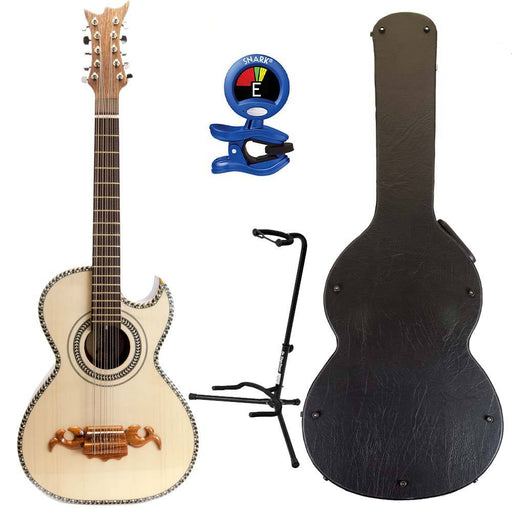 Villa Zapata Bajo Quinto Palo Escrito Natural Wood with Tuner and Stand
