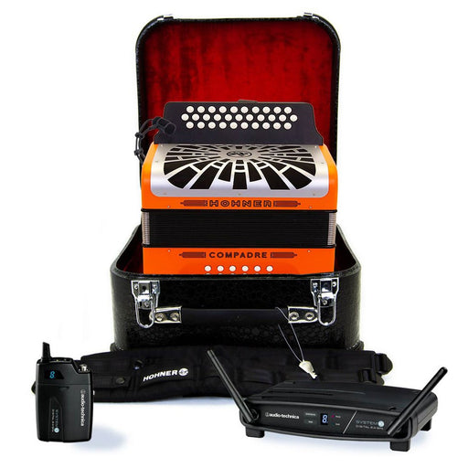 Hohner Compadre FBE Orange with Matte Gray Grill Wireless Bundle