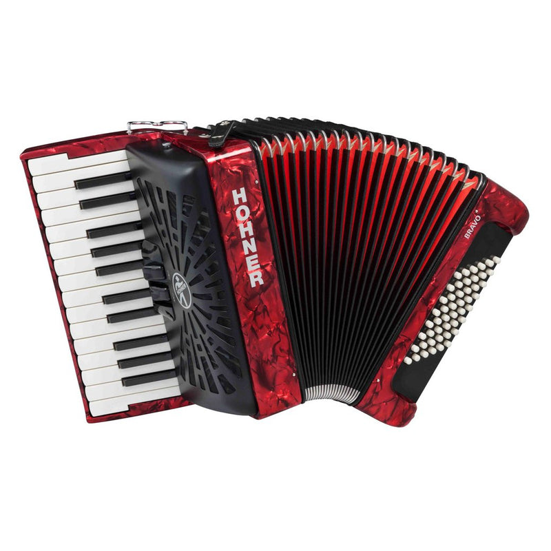 Hohner Bravo II Key Accordion with 48 Bass Buttons - Red