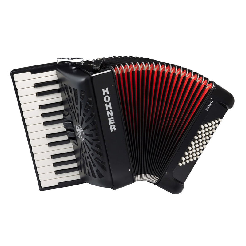Hohner Bravo II Key Accordion with 48 Bass Buttons - Black
