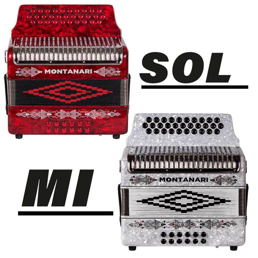 Bundle of Two Montanari 3112 G Accordions GCF Red and EAD White