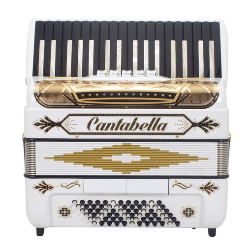 Cantabella Rey Chromatic Accordion 5 Switch White and Gold