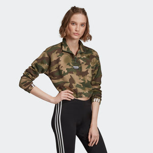 Womens Adidas Originals Half-Zip Sweater (Camo) - Simons Sportswear