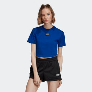 Womens Adidas Originals Tape Cropped Tee (Collegiate Royal) - Simons Sportswear