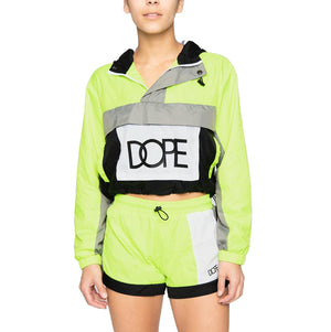 Womens DOPE Nuova Cropped Windbreaker in Green - Simons Sportswear