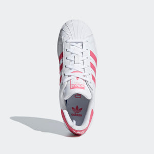 Big Kids Adidas Originals Superstar Shell Toe Sneaker In White Real Pink - Simons Sportswear