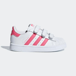 Infant Kids Adidas Originals Superstar Shell Toe Sneaker In White Real Pink - Simons Sportswear