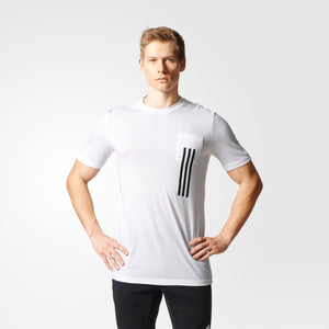 Mens Adidas Athletics Id 3-Stripes Pocket Tee Shirt In White