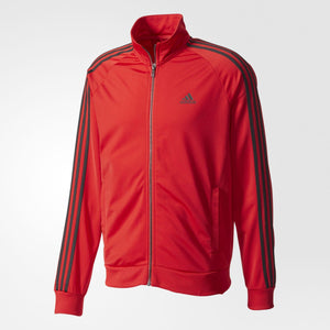 Mens Adidas Essentials 3-Stripes Tricot Track Jacket In Scarlet Red Black