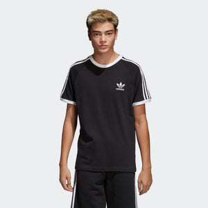 Mens Adidas Originals 3-Stripes Tee Shirt In Black White