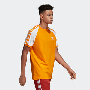 Mens Adidas Originals 3-Stripes Tee Shirt In Bright Orange - Simons Sportswear