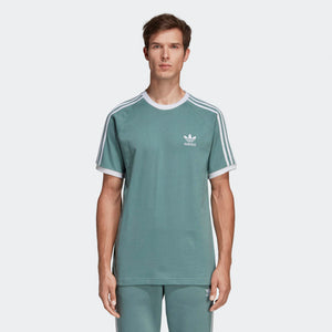 Mens Adidas Originals 3-Stripes Tee Shirt In Vapour Steel Green - Simons Sportswear