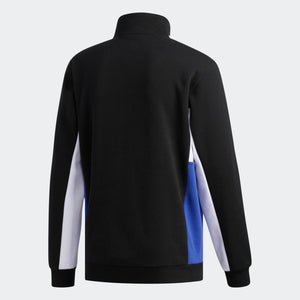 Mens Adidas Originals Apian Long Sleeve Quarter Zip Sweatshirt In Black White Active Blue - Simons Sportswear