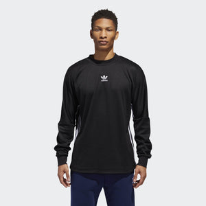 Mens Adidas Originals Authentics 3-Stripes Long Sleeve Jersey In Black White - Simons Sportswear