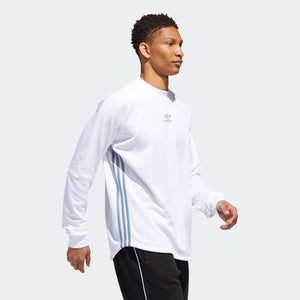 Mens Adidas Originals Authentics 3-Stripes Long Sleeve Jersey In White Raw Grey - Simons Sportswear