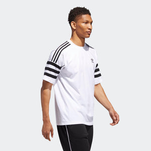 Mens Adidas Originals Authentics Tee Shirt In White Black - Simons Sportswear