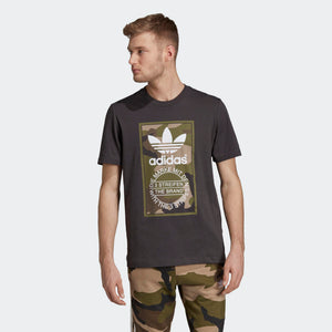 Mens Adidas Originals Camo Tounge Label Shirt In Utility Black Camo - Simons Sportswear
