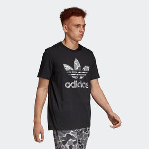 Mens Adidas Originals Camouflage Trefoil Tee Shirt In Black Camo