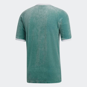 Mens Adidas Originals Cozy Velour Tee Shirt In Vapour Steel Green
