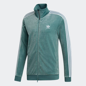 Mens Adidas Originals Cozy Velour Track Jacket In Vapour Steel Green - Simons Sportswear