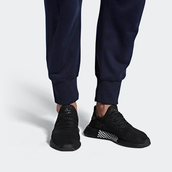 newest 272e7 57655 Mens Adidas Originals Deerupt Runner Shoes In All Black - Simons Sportswear