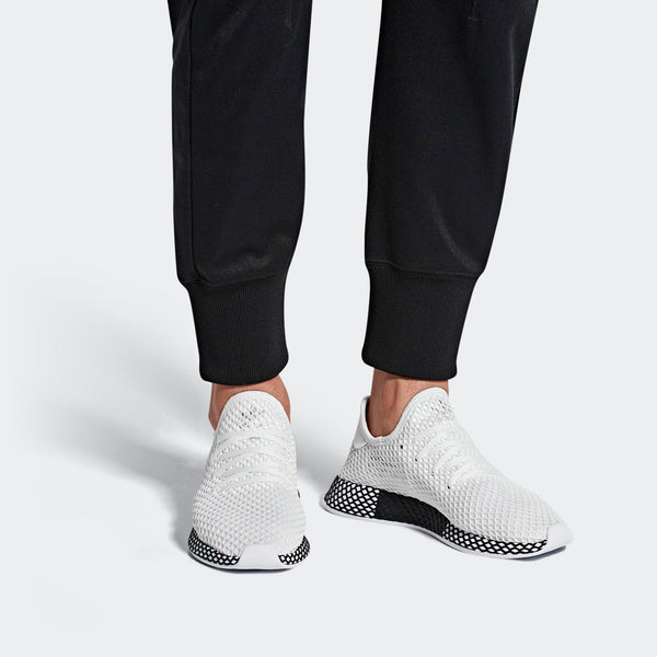 finest selection a8e8d f3b87 Mens Adidas Originals Deerupt Runner Shoes In Cloud White Black - Simons  Sportswear